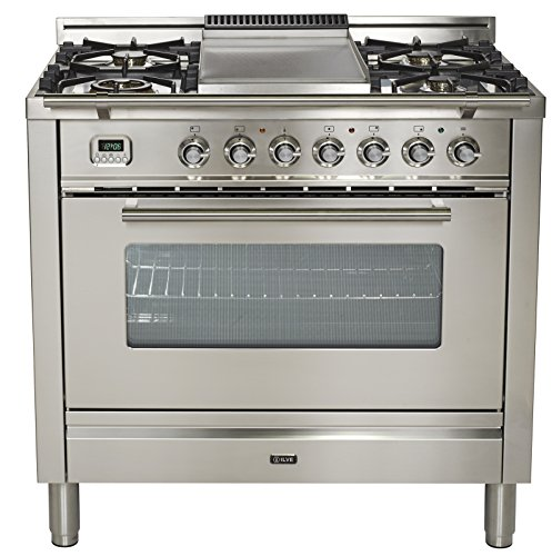 (Ilve UPW90FDMPI Pro Series 36 inch. Dual Fuel Range Oven Griddle, Convection Storage Drawer Stainless Steel)