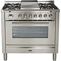 Ilve UPW90FDMPI Pro Series 36 Dual Fuel Range Oven Griddle, Convection Oven, Warming Drawer Stainless Steel