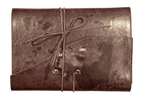Soul Leather Journal – Handmade Embossed World Map – Refillable Travel Notebook Diary (Chocolate Brown)