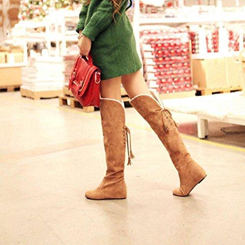 Elevin (tm) Donna Inverno Peluche Caldo Sopra Stivali Al Ginocchio Comodi Stivali Alti Alla Caviglia Con Lacci Gialli