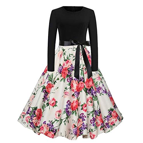 (Dresses for Womens,DaySeventh Women Vintage Bodycon Long Sleeve O Neck Evening Printing Party Prom Swing Dress)