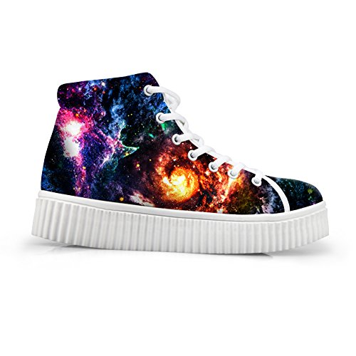 HUGSIDEA Classic Galaxy Star Print Women's Platform Sneakers Lace-up Wedge  Flats High Top Shoes US9
