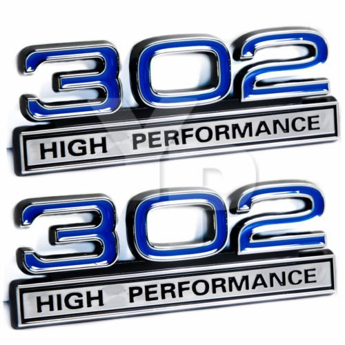 302 5.0 Liter Engine High Performance Emblems in Blue & Chrome - 4