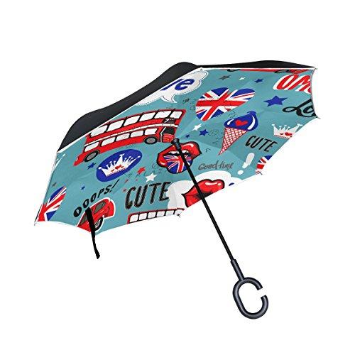 ALAZA London Lips Ice Cream Union Jack Star Inverted Umbrella, Large Double Layer Outdoor Rain Sun Car Reversible (London Ice Cream)
