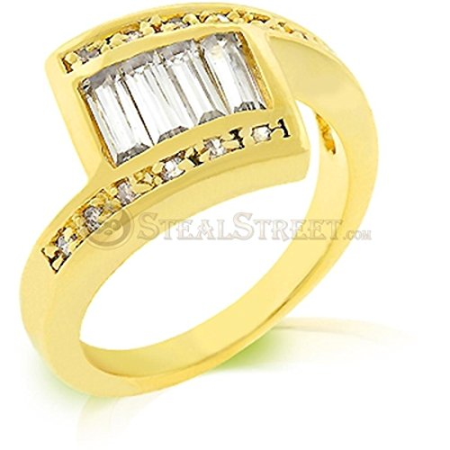 Edison Clear Cubic Zirconia Gold Colored Cocktail Ring, Size 5