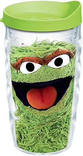 Tervis 1243130 Sesame Street-Oscar the Grouch Insulated Tumbler with Wrap and Lime Green Lid, 10Oz Wavy, Clear