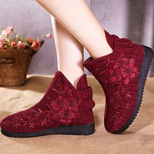 Botas Retro Cortas Encargo Botines Folk Invierno Segundo Nieve Zapatos Yan De Bordadas Femeninas Mujer Tela Algodón vxzwI1qB