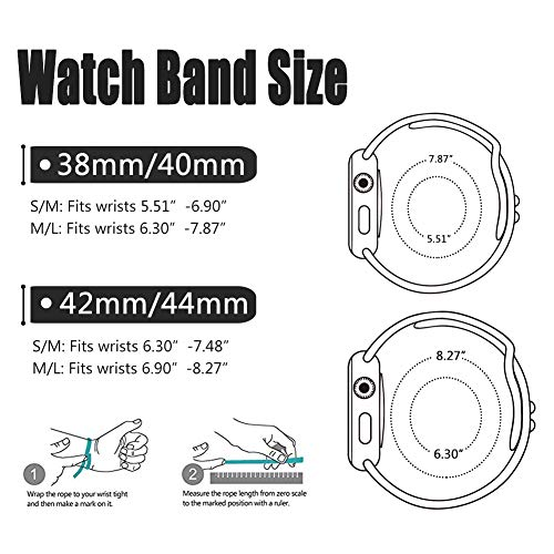 Large Product Image of SIRUIBO Band Compatible for Apple Watch 38mm, Soft Silicone Sport Strap Replacement Bracelet Wristband Compatible for Apple Watch Series 3, Series 2, Series 1, Nike+, Edition, White S/M Size