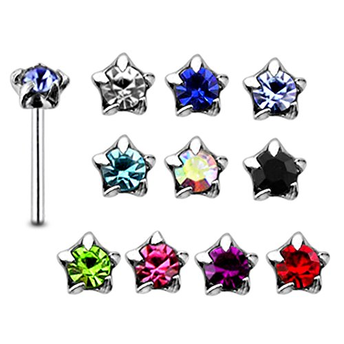 20 Pieces Mix Color Jeweled Star Set 925 Sterling Silver Nose Pin Straight End 20Gx5/16 (0.8x8MM). Pack in Acrylic Box. ()