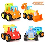 FUNTOK Friction Powered Cars Push and Go cars Vehicle Toys Set Tractor Bulldozer Cement Mixer and Dumper Happy Engineering Vehicles Gift for baby toddlers 4PCS