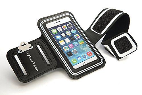 CyberTech Gym Sport Running Workout Sweat-resistant Armband Case Cover for Samsung Galaxy S2 S3 S4, Apple 5S 5C 5 4, HTC One, Motorola Blackberry Z10, and Similar Sized Mobile Phone - White