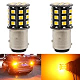AMAZENAR 2-Pack 1157 BAY15D 1016 1034 7528 2057 2357 Car Turn Signal Lights - 12V-24V Extremely Bright Amber/Yellow 2835 33 SMD LED Light Bulb - Replacement for Tail Blinker LED Bulb