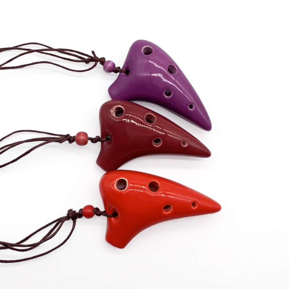 Kalaok 6 hoyos de cer/ámica Ocarina Alto C Instrumento musical de estilo submarino con puntaje musical Lanyard para amantes de la m/úsica y principiantes