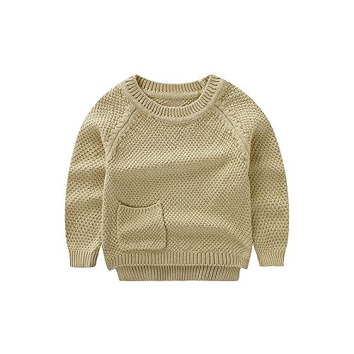 WeddingPach Baby Boys Girls Crochet Sweater Infant Kids Cotton Cardigans Casual Pullover 6M-4T (3T, Khaki)