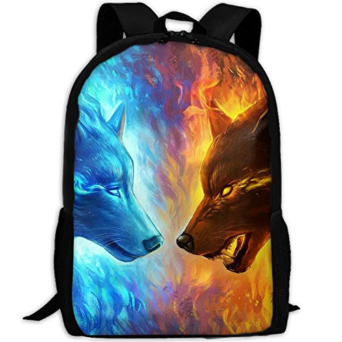 SZYYMM Custom Made Ice Fire Wolf Oxford Cloth Fashion Backpack,Travel/Outdoor Sports/Camping/School, Adjustable Shoulder Strap Storage Dayback For Women And Men by SZYYMM