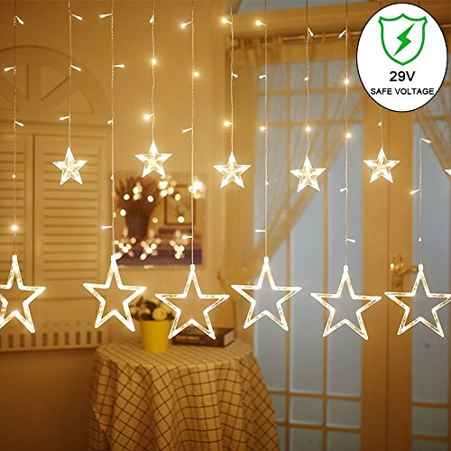 Curtain Lights, 12 Stars 138pcs 9.84Feet LED Waterproof Linkable Curtain String Lights,Fairy String Light for Christmas/Bedroom/Wedding/Party /Home/Indoor/Outdoor /Garden Backdrop
