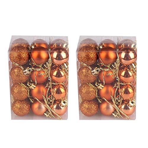 Hot Sale!DEESEE(TM)48PC 30mm Christmas Xmas Tree Ball Bauble Hanging Home Party Ornament Decor (Orange)