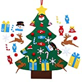 MeKaren Kids DIY Felt Christmas Tree Set Wall Hanging Detachable Ornaments 26pcs Xmas Gifts Children Friendly Christmas Home Decorations 3.1FT