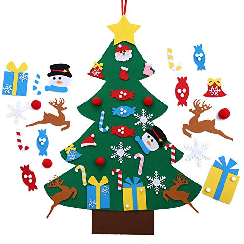MeKaren Kids DIY Felt Christmas Tree Set Wall Hanging Detachable Ornaments 26pcs Xmas Gifts Children Friendly Christmas Home Decorations 3.1FT (Ornaments Felt)