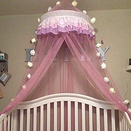 Ciel de Lit Moustiquaire pour Bébé Fille Dôme Princesse Polyester en  Couleur Rose Décoration pour Chambre Bébé ou Enfant (Hauteur 120 cm)