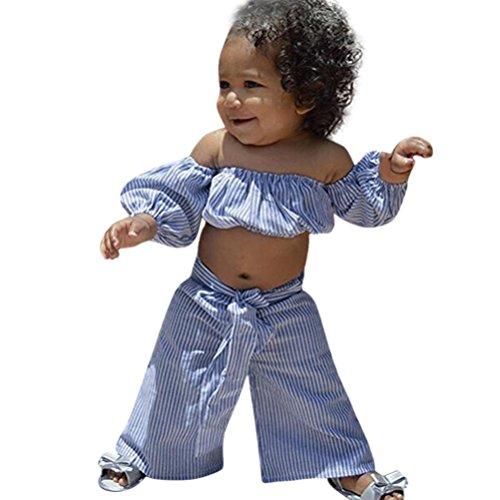 FEITONG Toddler Girl Stripe Off-Shouler Tube Top + Pant Set Outfit (Blue, 4-5T) ()