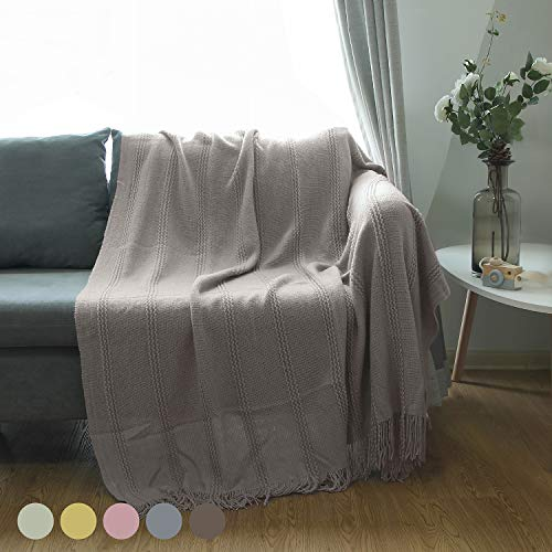 ALPHA HOME Cable Knit Throw Blanket Acrylic Cozy Snuggle TV Bed Sofa Throw for Adults and Kids,5060