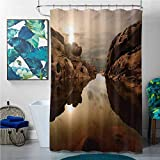 homecoco Shower Curtains Under 10 Nature,Sunrise Over Secluded Rocks in Calm Lake Beaming Sun Reflections on Water Cloudy Sky,Multicolor,W48 x L72 Happy Halloween Shower Curtain