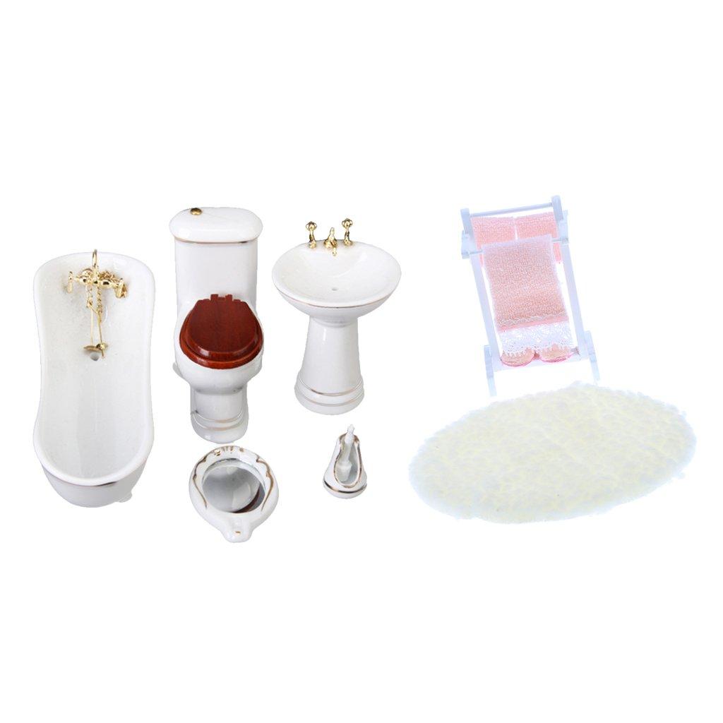 Sharplace Escala 1/12 Set de Mueble en Miniatura de Cuarto de Baño Accesorio Decorativo de Casa de Muñeca