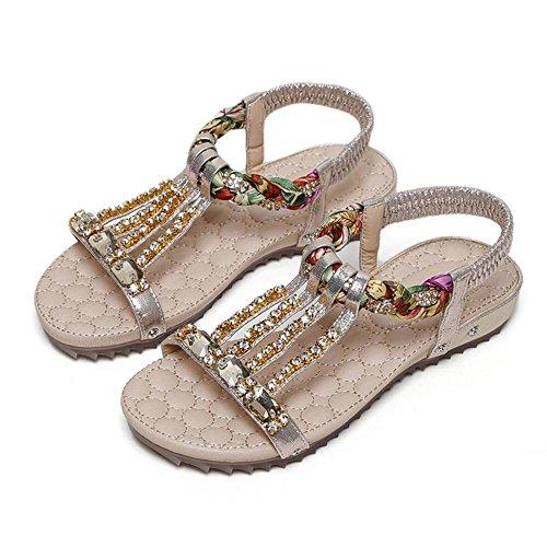 Sandalias Planas De Verano Zapatos De Moda Femenina Zapatos Simple Oro