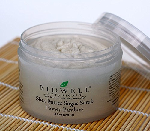 Honey Bamboo Shea Butter Sugar Scrub with Green Tea and Rice Bran Oil by Bidwell Botanicals LLC