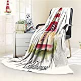 YOYI-HOME Super Soft Duplex Printed Blanket Print Pastel Faded Vintage Cursive Lettering Windows Grass Clouds Multi Anti-Static,2 Ply Thick,Hypoallergenic/W59 x H79