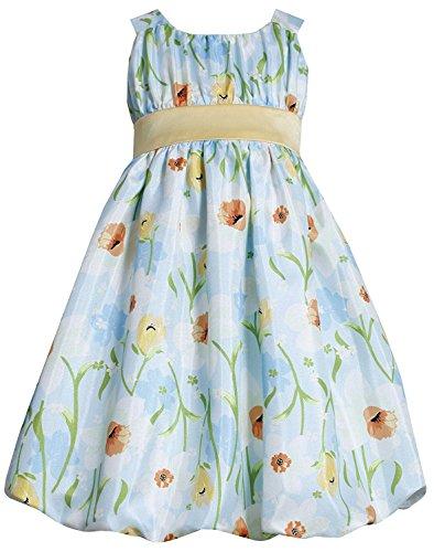 Bubble Shantung (Little Girls 2T-6X Aqua-Blue Yelow Floral Print Shantung Bubble Dress (6, Aqua-Blue))