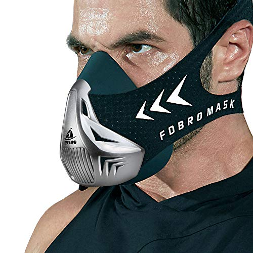FDBRO Workout Mask Sports Mask Fitness,Running, Resistance,Cardio,Endurance Mask for Fitness Training Sport Mask 3.0 with Carry Box (Silver Black, Large)