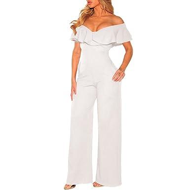 Femme Combinaison Pantalon Longue Sexy Épaule Nue sans Manches Pantalon  Large Été Combinaisons A Volants Jumpsuit 565b35732e28