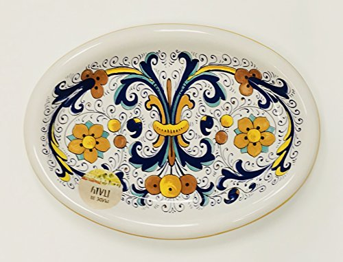 Made In Italy   Vibrant Blue, Yellow, Green on White Ceramic Plate   Oval (9.75 inches x 7.25 inches) (Dinner Plate Olive Green)