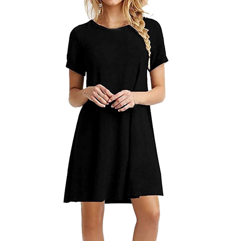 2019 New Women's Fashion Solid O-Neck Short Sleeve Dress Casual Loose Mini Dress (Black, L)