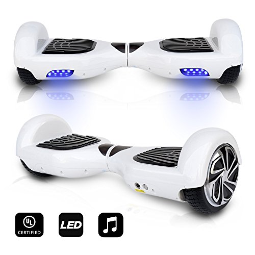 CHO 6.5' inch Wheels Original Electric Smart Self Balancing Scooter Hoverboard With Built-In Bluetooth Speaker- UL2272 Certified (WHITE)