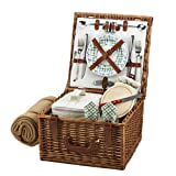 Picnic at Ascot Cheshire English-Style Willow Picnic Basket with Service for 2 and Blanket - Gazebo