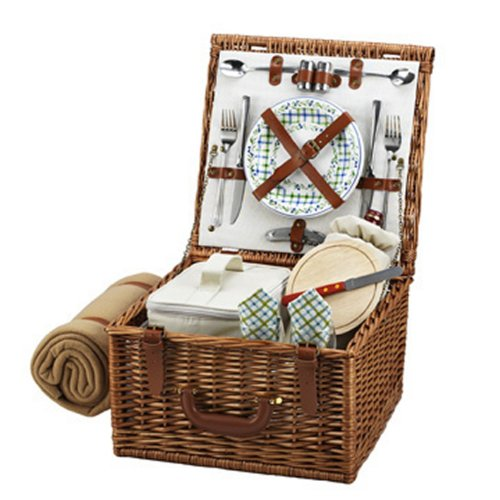Picnic at Ascot Cheshire English-Style Willow Picnic Basket with Service for 2 and Blanket - Gazebo by Picnic at Ascot
