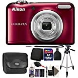 Nikon COOLPIX A10 16.1 MP Digital Camera (Red) + 32GB Memory Card + Wallet + Reader + Battery and Charger + Camera Case + Dust Blower + Lens Pen + 3pc Cleaning Kit + Tripod