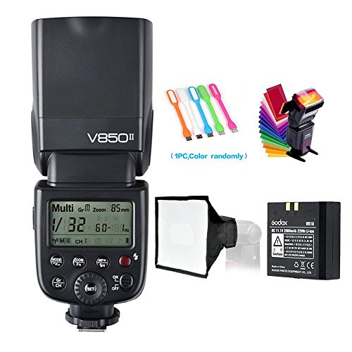 Godox V850II GN60 2.4G 1/8000s High-Speed Sync Camera Flash Speedlite Speedlight light & 2000mAh Li-ion Battery Features 1.5s recycle time and 650 Full Power Pops for Canon Nikon Pentax Olympas (Speed High Nikon Sync Flash)