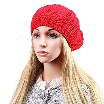 6e3d2e9c2a6 Image Unavailable. Image not available for. Color  Women Ladies Knitted  Crochet Beanie Hat Winter Warm Slouch Baggy Beret Cap(Red)