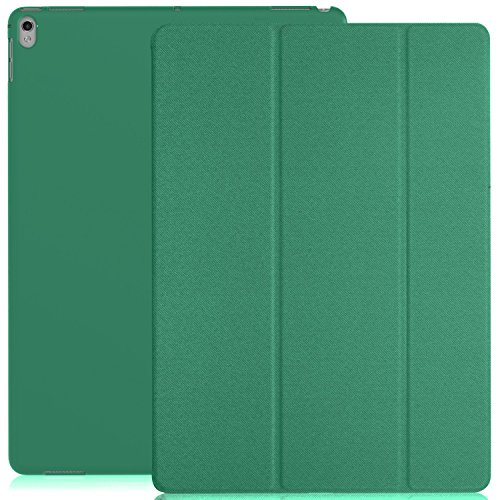 KHOMO iPad Pro 12.9 Inch Case 2017 2nd Gen. - Dual Twill Green Super Slim Cover with Rubberized Back and Smart Feature
