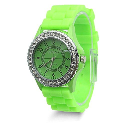 Estone Geneva Fashion Crystal Jelly Gel Silicon Girl Women's Quartz Wrist Watch (Light ()