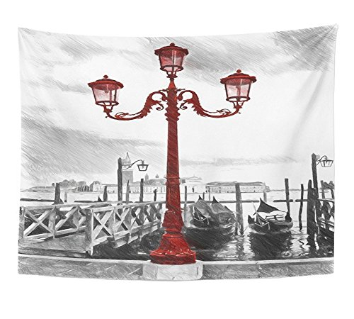 Emvency Tapestry Wall Hanging Lamp Venetian Street Lamp Venice Vene Digital in Draw Sketch Style Vene Polyester Fabric Home Decor For Living Room Bedroom Dorm 60x80 Inches