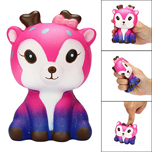 WFFO Slow Rising Squishy Toy, 11cm Galaxy Deer Cream Scented Squishy Slow Rising Squeeze Strap Kids Toy Gift for Kids Party Toys Stress Reliever Toy (Pink)