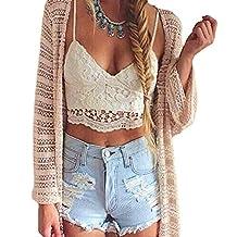 Romacci Women Crochet Tank Camisole Lace Vest Blouse Bralette Bra Crop Top S-L