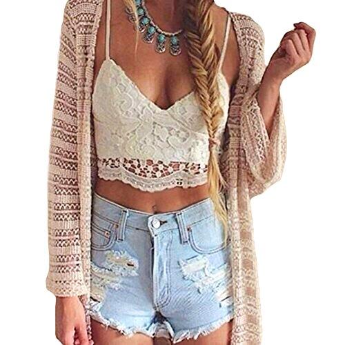 Romacci Women Crochet Tank Camisole Lace Vest Blouse Bralette Bra Crop Top -