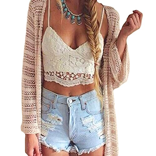 Romacci Women Crochet Tank Camisole Lace Vest Blouse Bralette Bra Crop Top White