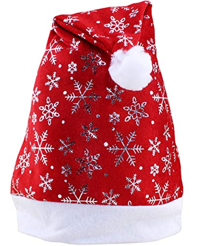 Santa Hats Holiday Christmas Hats Party Hats with Silver Snowflake for Adults and Kids